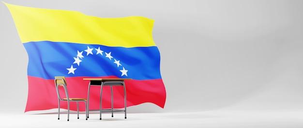 Концепция образования. 3d стола и флаг венесуэлы на белом фоне.