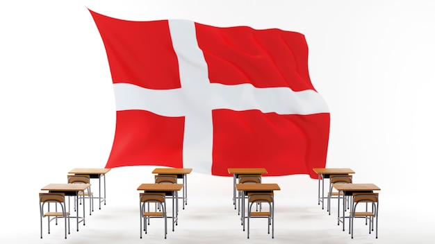 Концепция образования. 3d столов и флаг дании на белом фоне.