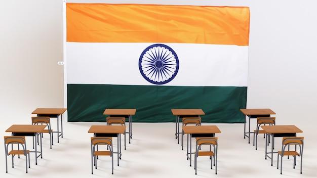 Концепция образования. 3d столов и флаг индии на белом фоне.