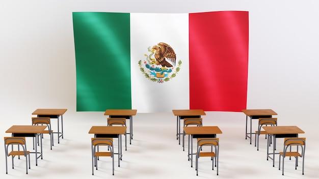 Концепция образования. 3d столов и флаг мексики на белом фоне.
