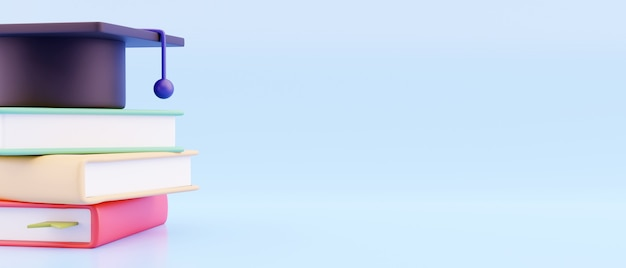 教育の概念。帽子の3d、青い背景の本。ランディングページテンプレート。学校に戻る、バナーデザインテンプレート。 Premium写真