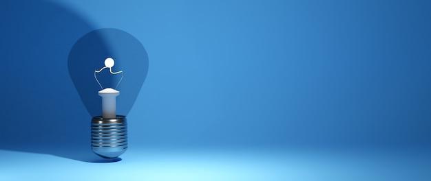 教育の概念。青い背景の電球の3d。教育のモダンなフラットデザインアイソメトリックコンセプト。学校に戻る。