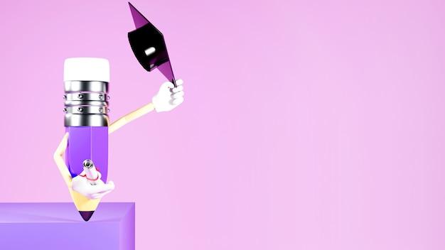 教育の概念。紫色の背景に鉛筆と卒業帽子の3d。