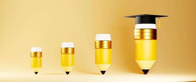教育の概念。鉛筆と卒業帽子の3d。教育のモダンなフラットデザインアイソメトリックコンセプト。学校に戻る。