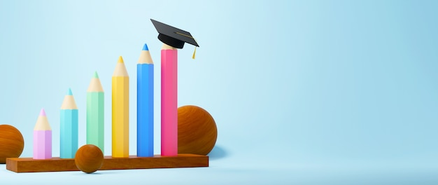 教育の概念。青の背景に鉛筆と卒業帽子の3d。