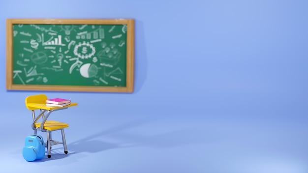 教育の概念。青い背景の上の学校の机とバッグの3d。