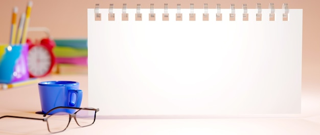 Концепция образования. 3d учебника и канцелярских принадлежностей на оранжевом фоне.