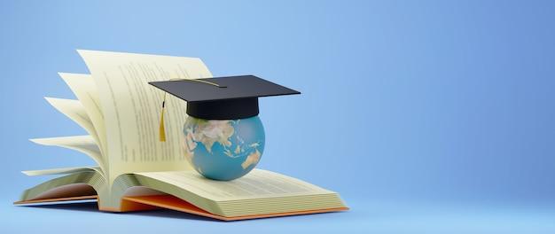 教育の概念。 3d of the worldは、青い背景の本に卒業式の帽子をかぶっています。教育のモダンなフラットデザインアイソメトリックコンセプト。学校に戻る。