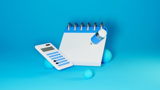 教育の概念。本と鉛筆の3dレンダリング、モダンなフラットデザインのアイソメトリックコンセプト
