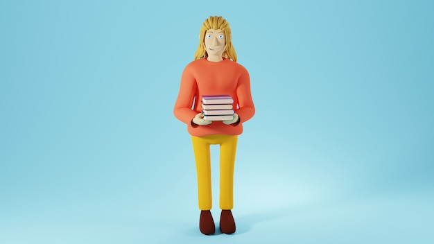 Education concept. 3d of a woman holding books on blue background.