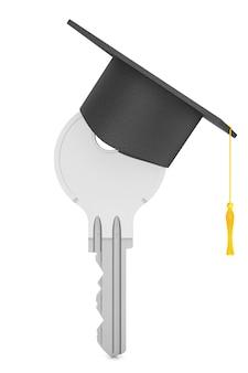 교육 개념입니다. 흰색 바탕에 졸업 모자와 키입니다. 3d 렌더링