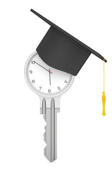 교육 개념입니다. 흰색 바탕에 졸업 모자와 열쇠로 현대 시계. 3d 렌더링