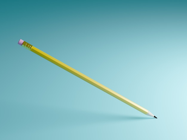 Education concept. pencil with pink rubber and shadow on blue background