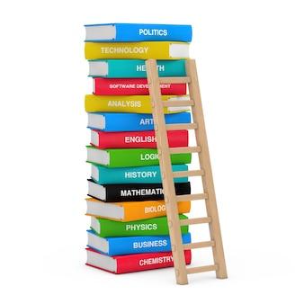 Концепция образования. деревянная лестница со стопкой цветных школьных учебников на белом фоне 3d-рендеринга