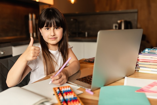 Education and distance learning for kids. homeschooling during quarantine. online learning at home