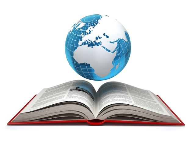 교육 인터넷 전자 학습 개념입니다. 지구와 흰색 절연 펼친 책입니다. 3d
