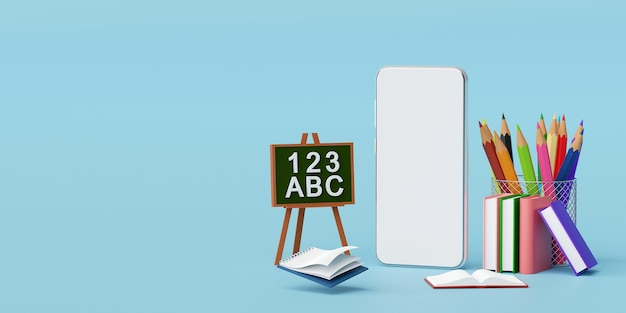 教育用品3dイラストレーションとスマートフォンの教育オンラインコンセプト