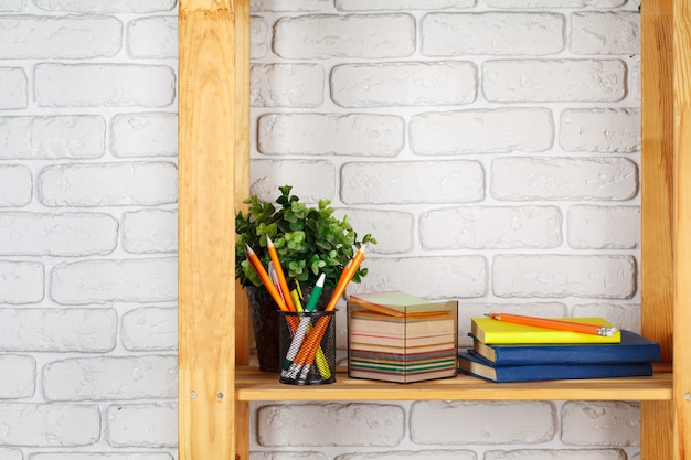 Education, studing and back to school  creative desk with stationery