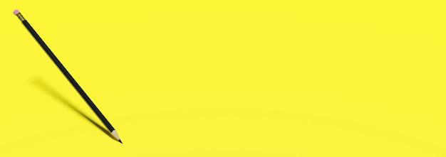 空白のコピースペース3dレンダリングと教育黄色の背景