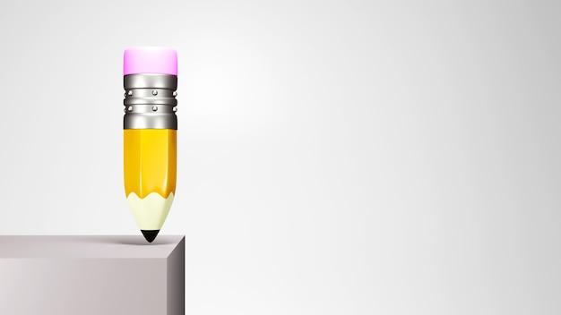 Образовательная концепция. 3d-рендеринг карандаша на белой стене.