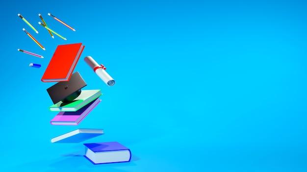 青の教育概念、本と卒業帽子