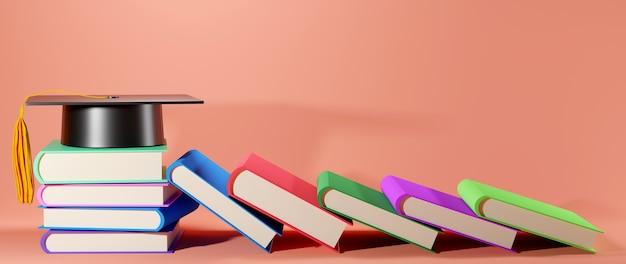 ピンクの教育コンセプト、本、卒業帽子
