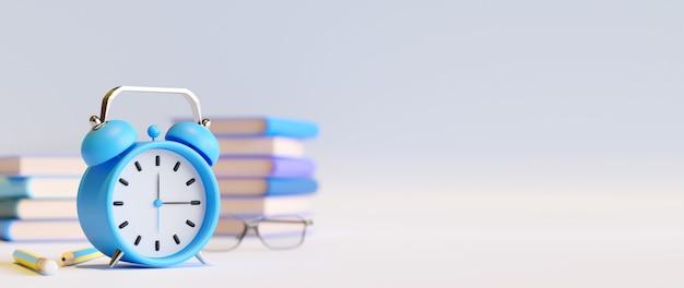Образовательная концепция, книги и будильник на белом