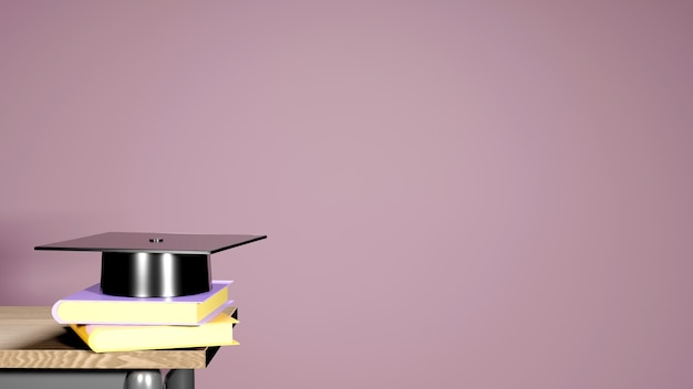 教育コンセプト、ピンクの本の卒業帽子