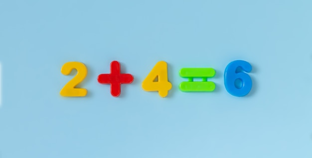 Educational kids math plastic numbers for counting practice.