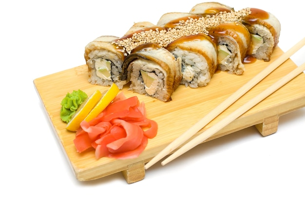 Eel sushi rolls, japanese gourmet food