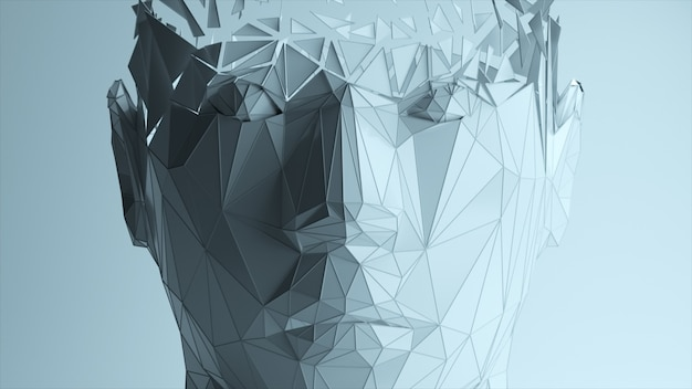 The effect of the appearance of a polygonal digital human face. artificial intelligence. 3d illustration