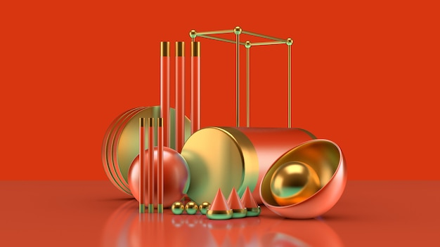 Effective composition with a group of objects, background and abstraction. 3d illustration,