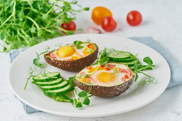 Egg baked in avocado, toast, breakfast, closeup