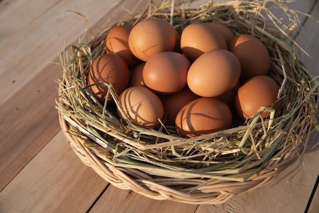 Egg basket on wooden floor