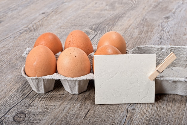 Egg box with a label