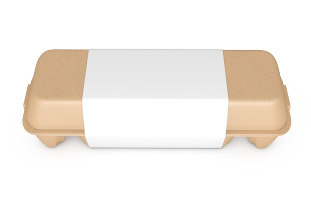 Egg brown cardboard box with blank label with free space for your design on a white background. 3d rendering