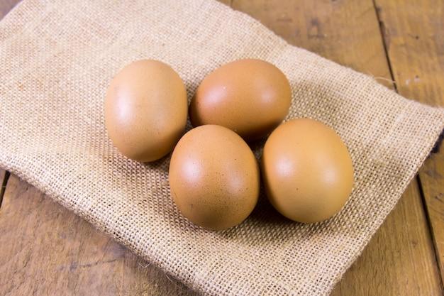 Egg on brown sack cloth