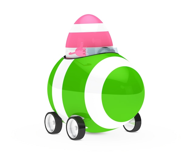Egg driving a green vehicle