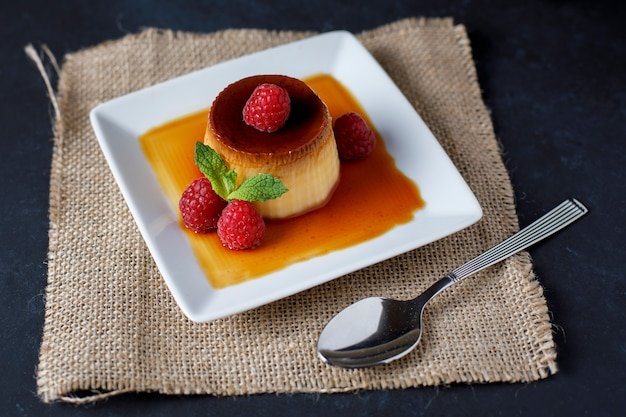Egg flan with raspberries