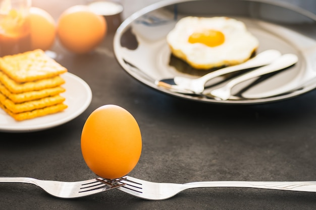 Egg on fork and fried egg on plate, crackers on white plate, food homemade when stay at home