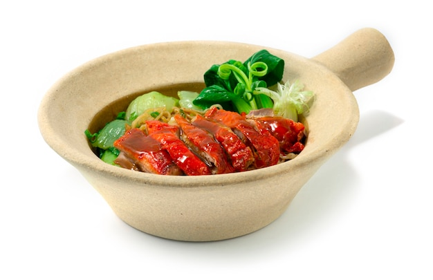 Egg noodles with roasted duck in clay pot chinese food asian style decorate vegetable bok choy sideview