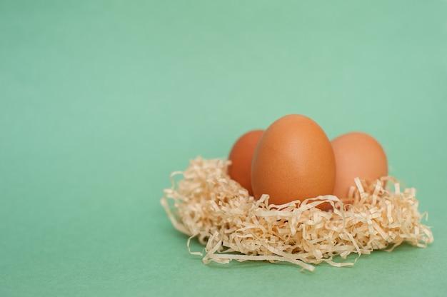 녹색 배경에 계란. 부활절 배경입니다.