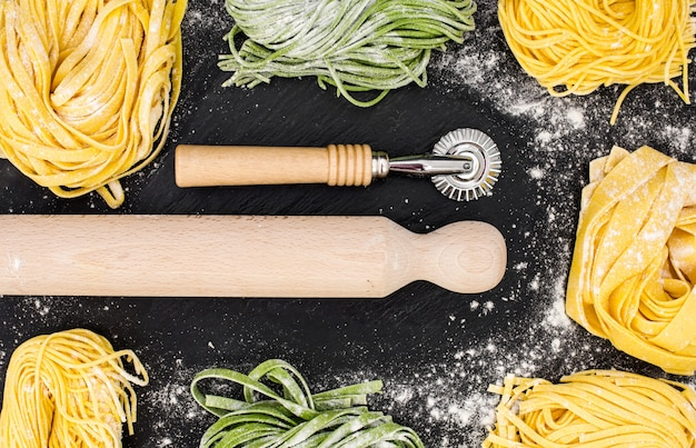 Egg pasta with rolling pin and cutter