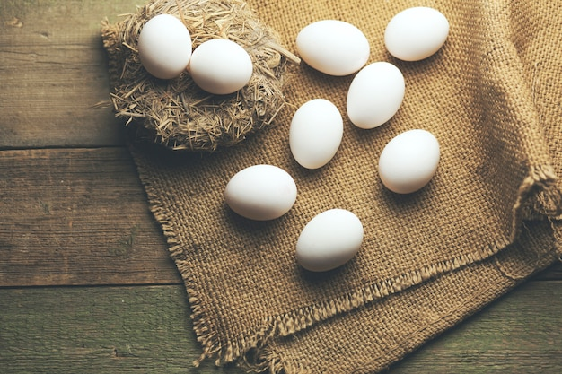 Egg on rice straw