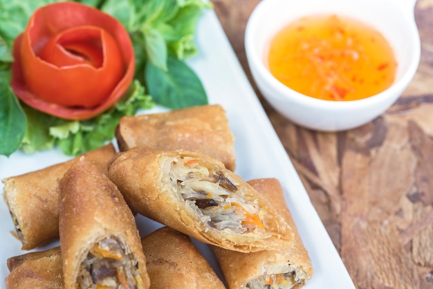 Egg roll or spring roll or popiah in thai style