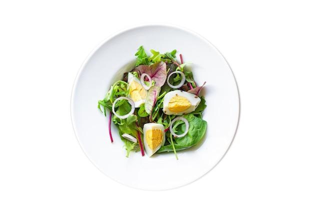 エッグサラダ野菜新緑の葉ミックスほうれん草アルグラレタス卵ゆで有機食品
