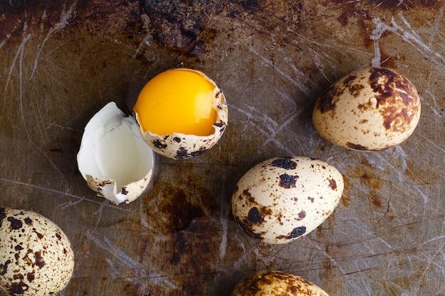 Egg yolk in brocken quail eggs on rustic table
