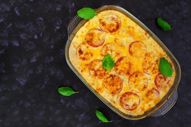 Eggplant casserole. moussaka on dark
