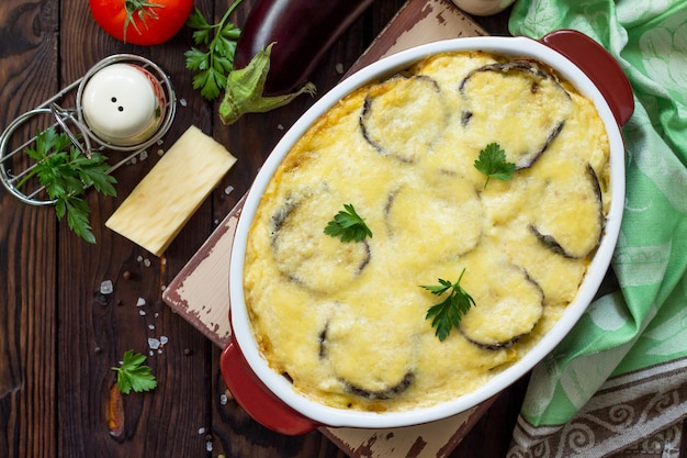 Eggplant casserole with beshamel moussaka  a traditional greek dish top view