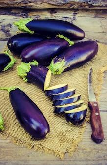 Eggplant. food. selective focus. nature garden food.